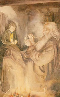 Gandalf in Bilbo's Home by Alan Lee