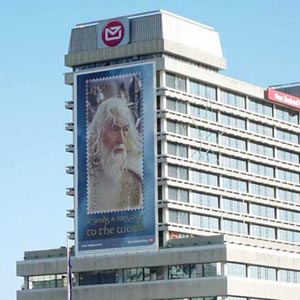 Gandalf banner on the New Zealand Post building overlooking Wellington Harbour, November 2003, Photo by Simon Allison