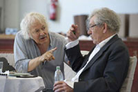 Ian McKellen and Michael Pennington in The Syndicate (Rehearsal)