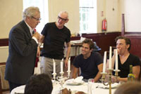Ian McKellen, director Sean Mathias, Michael Stevenson and Michael Thomson in The Syndicate (Rehearsal)