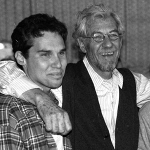 1997, APT PUPIL: Its a Wrap! (L to R) Bryan Singer, Ian McKellen, and Brad Renfro at the end of filming, April 4, 1997. <BR><BR><em>This was my last day of filming interior scenes at Occidental Studios, built for Mary Pickford and the oldest working studio in Los Angeles.<BR> Brad Renfro was a good pal to me.  From opposite positions of age, experience, nationality and temperament we met and at once trusted each other.  He was not yet 15 years old.  His brio and enthusiasm for all aspects of filming were contagious.  During shooting Apt Pupil, he wrote directed and acted in a short video of his own devising.</em>  - Photo by Gregory Cooke