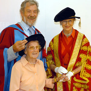 2004,   Sir Ian McKellen with his mother Gladys and Princess Alexandra after receiving his honorary degree at Lancaster University.  - Photo by Nigel Slater
