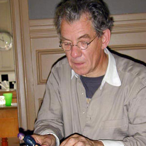 With Magneto action figure, Bill Condons dining room, June 2000