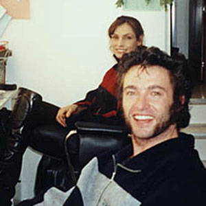 Tyler Mane (Sabretooth),  Tony (stunt double), Famke Jannsen (Jean Grey), Hugh Jackman (Wolverine) in makeup room