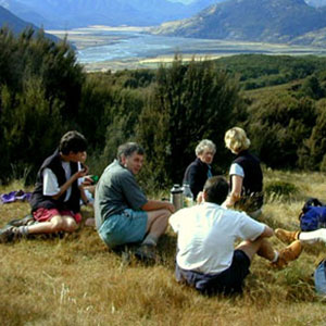 Tea time for a tramping party near Arthur's Pass, Photo by Keith Stern