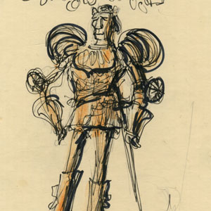 1969,   Ian McKellen as King Richard II  in Act 2 armour, sketched at Assembly Hall, Edinburgh.