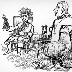 1974, DR FAUSTUS: Hewison�s cartoon in Punch: Dr. Faustus holding hand puppets of Good and Bad Angels (Ian McKellen) with Mephistophiles  (Emrys James)  - Sketch by Hewison