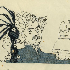 1974, DR FAUSTUS: Sketched at Edinburgh Festival. Ian  McKellen  (Dr. Faustus with Bad and Good Angels)
