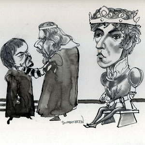 1969,   Unpublished drawing by Donald Green: Timothy West (Bolingbroke), Robert Eddison (as his uncle York)  with Ian McKellen as King Richard  - Sketch by Donald Green