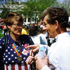 At the March on Washington with Marguerite Cammermeyer (US military officer discharged for being a lesbian)