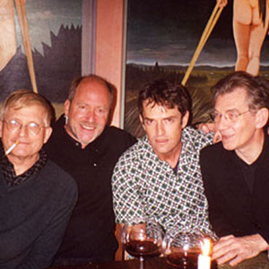 David Hockney, Greg Gorman, Rupert Everett, Ian McKellen at Greg Gormans home