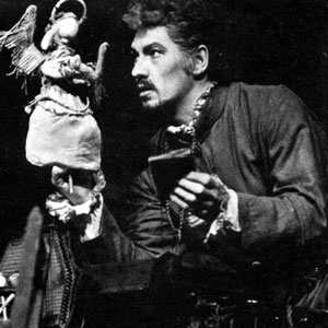 Dr Faustus (Ian McKellen) with Good Angel puppet