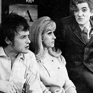 1968, THE WHITE LIARS / BLACK COMEDY: James Bolam as Brindsley Miller, Liz Fraser as Clea and Ian McKellen as Harold Gorringe, in BLACK COMEDY
