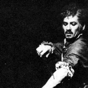 1974, DR FAUSTUS: Mephistophiles (Emrys James) and Dr Faustus (Ian McKellen): The fatal self-inflicted wounding which commits Faustuss soul  - Photo by Donald Cooper