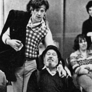 1976, ROMEO AND JULIET (1976): Ian McKellen (Romeo) and David Waller (Friar Lawrence) in rehearsal with Richard Durden and Greg Hicks  - Photo by Nobby Clark