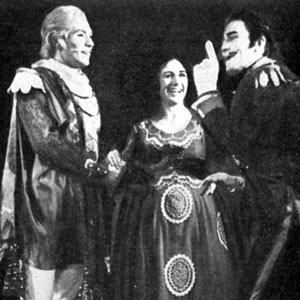1965, MUCH ADO ABOUT NOTHING (1965): Ian McKellen (Claudio), Caroline John (Hero), and Albert Finney (Don Pedro)  - Photo by Zoe Dominic