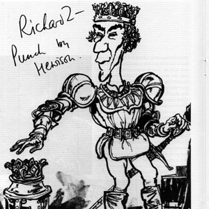 1969, RICHARD II: Hewison�s cartoon for: Punch Ian McKellen (Richard II)  - Sketch by Hewison