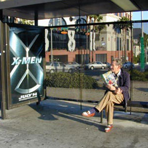Waiting for the bus on Sunset Blvd, Hollywood