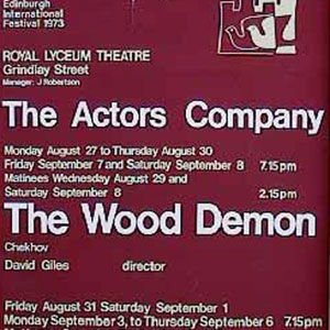 1973, THE WOOD DEMON: Theatre Poster