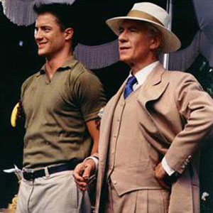 1997, GODS AND MONSTERS: James Whale (Ian McKellen) and Clayton Boone (Brendan Fraser) attend a soggy garden party at George Cukors.