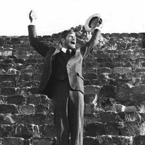 Ian McKellen (D H Lawrence) orating on the steps of the temple at Monte Alba, just outside Oaxaca, Mexico