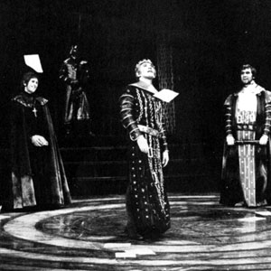1969, EDWARD II: Thus after many years of wrathful war Triumpheth Englands Edward with his friends.  (Richard Morant, Colin Fisher, Luke Hardy, Ian McKellen, David Calder, Andrew Crawford)  - Photo by <a href='http://www.dundee.ac.uk/archives' target='_blank'>� Michael Peto Collection, University of Dundee</a>
