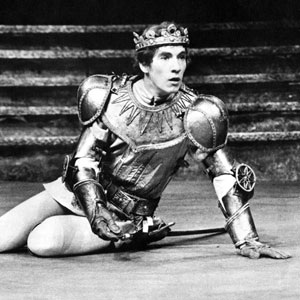 1969, RICHARD II: For Gods sake let us sit upon the ground And tell sad stories of the deaths of kings (III.2.155)<BR><BR> Richard 2, returning from the Irish rebellion, is in his fighting armour.  - Photo by <a href='http://www.dundee.ac.uk/archives' target='_blank'>� Michael Peto Collection, University of Dundee</a>
