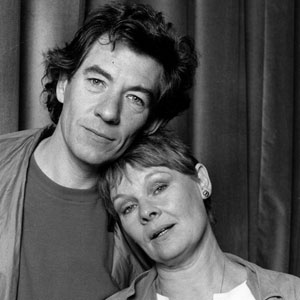 Ian McKellen and Judi Dench during production of BBC radio extract from Noël Cowards Private Lives, in celebration of H.M. The Queen Mothers 90th birthday