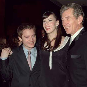 2001, THE LORD OF THE RINGS: THE FELLOWSHIP OF THE RING: Elijah Wood, Liv Tyler, Ian McKellen, London premiere, Leicester Square, 10 December 2001  - Photo by AP/Darla Khazei