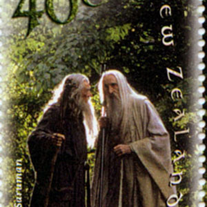 New Zealand Postage Stamp featuring Gandalf (Ian McKellen) and Saruman (Christopher Lee)