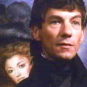 Ian McKellen as Chauvelin; portrait of Jane Seymour as Marguerite behind