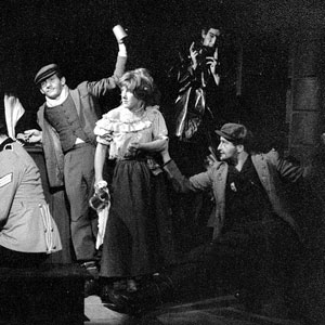 1963, SERJEANT MUSGRAVE'S DANCE: L to R: Ian McKellen, James Cairncross, Gabrielle Hamilton, Andrew Keir, Peter Griffin, Josie Kidd, Gawn Grainger, Mark Follett. <BR><BR><em>Despite the songs and occasional jollity, this was the most depressing play to act in &#151; we all agreed.</em>