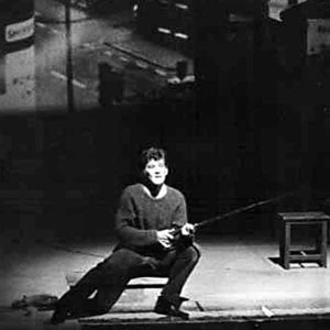 1964, SATURDAY NIGHT AND SUNDAY MORNING: Final soliloquy, Arthur fishing in the canal off the front of the Nottingham stage