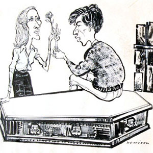 1964, A SCENT OF FLOWERS: Cartoon: by Hewison in Punch Magazine: Jennifer Hilary (Zoe) and Ian McKellen (Godfrey) - I bought the original drawing which accompanied the Punch review, starting a collection of Hewison's work which I discontinued a decade or so later.  - Sketch by Hewison