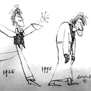 1966, THEIR VERY OWN AND GOLDEN CITY: Cartoon by Quentin Blake in Punch.  This drawing, now in the possession of my sister Jean, amuses us both because the older figure reminds us of our paternal grandfather in his later years.  - Sketch by Quentin Blake