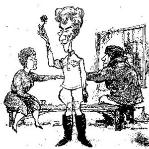 1967, THE PROMISE (1967): Cartoon from Punch by Hewison: Judi Dench (in Act 3 costume), Ian McKellen (Act 2), and Ian McShane (Act I)  - Sketch by Hewison