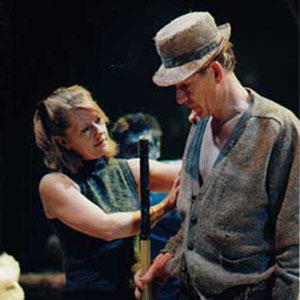 1999, THE TEMPEST: Director Jude Kelly and Ian McKellen (Prospero) at dress rehearsal  - Photo by Keith Pattison