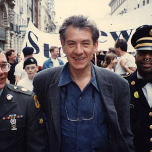 With former American soldiers Clifford Krapf and Perry Watkins, London Gay Pride 1993