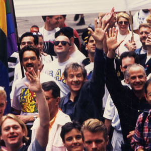 With Michael Cashman (right, in black) and John Miskelly (left, in Keith Haring Tee) — London Gay Pride 1993
