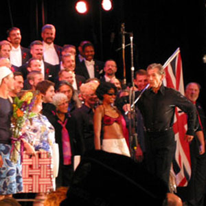On stage with the Gay Mens Choir, San Francisco, 27 June