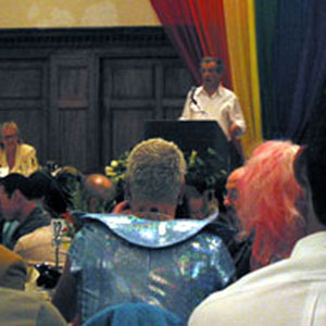 At a CAPE fundraiser for the Positive Resource Center, San Francisco, 29 June 2002