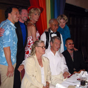 SF Pride, Grand Marshals Brunch, 29 June 2002. Back Row: Brian Cheu, Gary Virginia, Donna Sachet, Hoover Lee, Shawna Virago. Front Row: Sharon Gless, Ian McKellen, Christopher Lee.