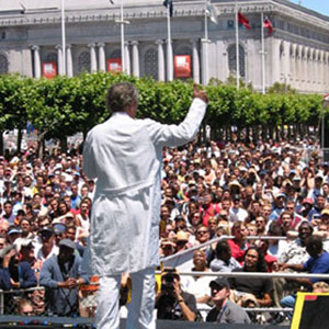 Addressing the crowd from the main stage, SF Pride