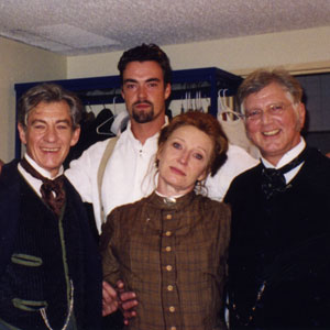 1997, AN ENEMY OF THE PEOPLE (London): Backstage<br> Rear: Alisdair Simpson<br> Front: Ian McKellen, Charlotte Cornwell, Stephen Moore