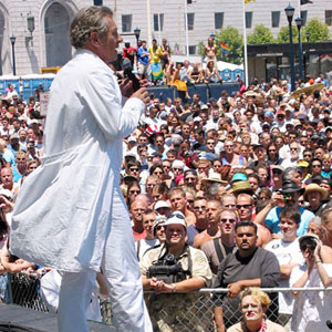 30 June 2002: As Grand Marshal, addressing the rally at the end of the San Francisco Pride parade.
