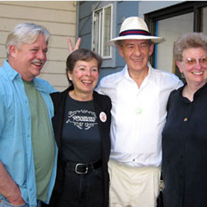 Authors Armistead Maupin, Ann Bannon, and Katherine V. Forrest with Ian McKellen at A Different Light Bookstore, San Francisco