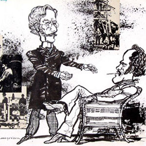 1977, PILLARS OF THE COMMUNITY: Hewison's cartoon for Punch (1 August 1977): Ian McKellen (Karsten Bernick) and Mike Gwilym (Johann Tonneson)  - Sketch by Hewison