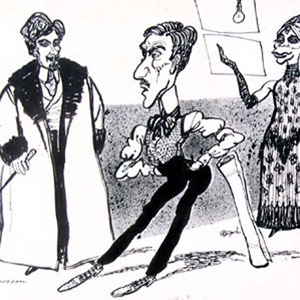 1974, THE MARQUIS OF KEITH: Hewison's cartoon for Punch (9 November 1974): Ian Richardson (Ernst Scholz), Ian McKellen (The Marquis of Keith), Sara Kestelman (Mona)  - Sketch by Hewison