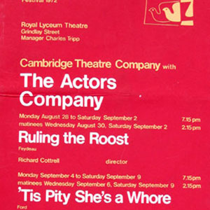 1972, RULING THE ROOST: Theatre Poster