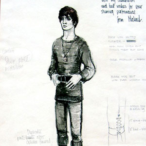 1971, HAMLET: Michael Annals gave me this design for Hamlet's Act One costume on the first night.  - Sketch by Michael Annals